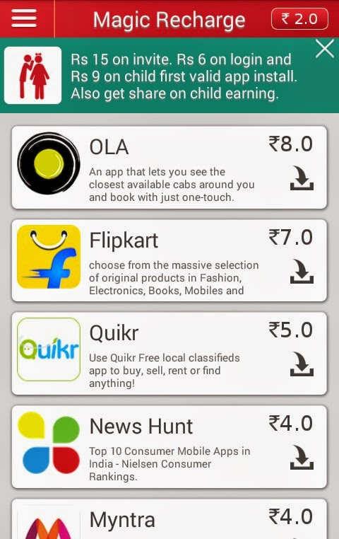 Magic Recharge Free Talktime Earning App with unlimited earning